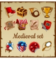 Set of medieval object on parchment paper vector image vector image