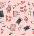 set purse glasses cellphone shoes perfume vector image vector image