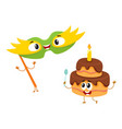 smiling birthday party characters - mask and vector image vector image