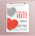 stylish valentines day party flyer template vector image vector image