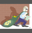 thief carrying bag money with a dollar sign vector image vector image