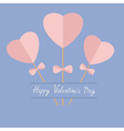Three sticks with hearts and bows Happy Valentines vector image vector image