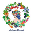 woman with berries frame and wreath autumn harvest vector image vector image