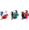 Breakdance silhouette of a man in bright clothes vector image