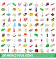 100 world tour icons set isometric 3d style vector image