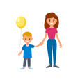 a babysitter or nanny holds the child by the hand vector image