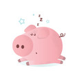 a cute sleeping pink pig vector image vector image