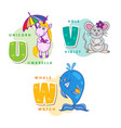 alphabet children colored letter u v w vector image