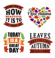 autumn quote and saying set vector image