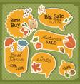 autumn sale orange stickers set vector image vector image