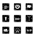 Beer icons set grunge style vector image vector image