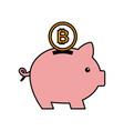 bitcoin piggy bank saving cryptocurrency money vector image