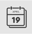 calendar day 19 april days year vector image vector image