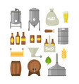 cartoon beer brewing color icons set vector image vector image
