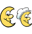 cartoon of a happy yellow moon with a bonnet hat vector image vector image