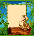cartoon rattlesnake on hollow log near the empty f vector image vector image