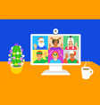 christmas celebration videocall friends together vector image