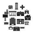 city infrastructure items icons set simple style vector image vector image