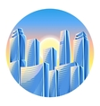City skyscrapers background in blue colors vector image vector image