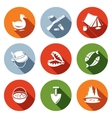 Color hunting and fishing flat icon set vector image
