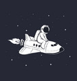 cute astronaut flies on shuttle in outer space vector image