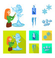 design of texture and frozen icon set of vector image vector image