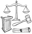 doodle justice law podium gavel scales vector image vector image