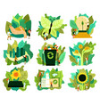 ecological restoration icons set vector image