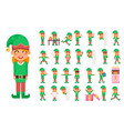 elf girl christmas santa claus helper in different vector image vector image