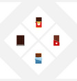 flat icon chocolate set of dessert chocolate bar vector image vector image