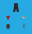 flat icon dress set of t-shirt pants cravat and vector image