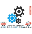 Gear Mechanism Flat Icon With 2017 Bonus Trend vector image vector image