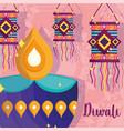 happy diwali festival diya lamp and lanterns vector image vector image