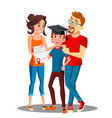 happy parents standing behind the student with vector image vector image