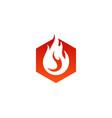 hexagon fire logo icon design vector image