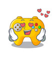 in love video game controller shaped on charcter vector image