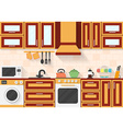 Kitchen with appliances and utensils Flat style vector image vector image