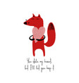 laughing fox holding big heart vector image vector image