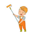 little boy builder wearing hard hat and overall vector image vector image