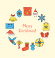 merry christmas round concept banner with text vector image