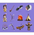 Native American Cartoon Icons vector image