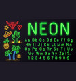 neon font with signs alphabet for night vector image