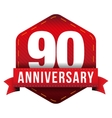 Ninety year anniversary badge with red ribbon vector image