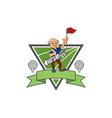 old man golfer club - golf logo - triangle vector image