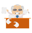 old man is angry on white background vector image vector image