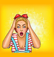 pop art pin up shocked surprised blonde vector image vector image