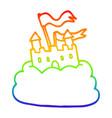 rainbow gradient line drawing cartoon castle on vector image vector image