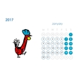 Rooster calendar 2017 for your design January vector image vector image