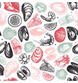 seafood seamless pattern hand drawn fish vector image vector image