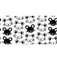 seamless pattern with cute black doodle mouses vector image
